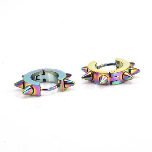 Unisex Punk Jewelry 1 Pair Stainless Steel Hoop Spike Rivet Ear Stud Earrings