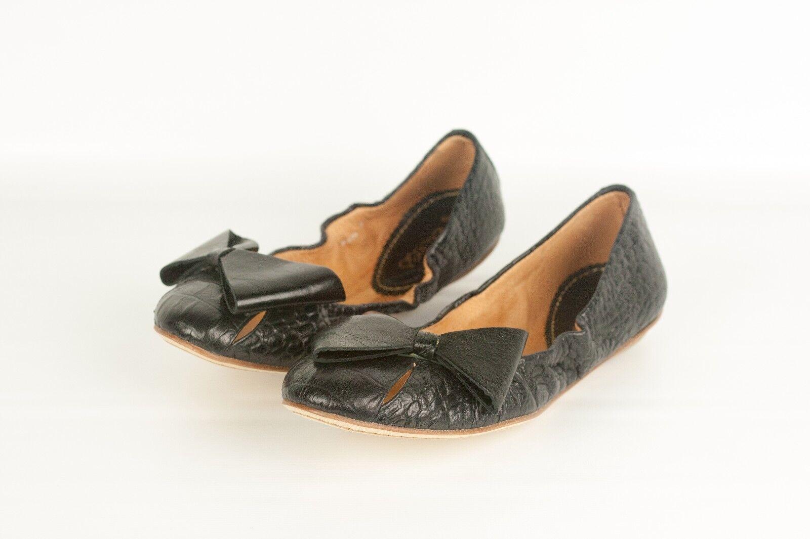 Nuevo Nuevo Nuevo  375 Cuero Negro Cocodrilo Maloles blancohe Ballet Zapatos sin Taco Sin Detalle De Moño Zapatos 7.5  punto de venta en línea