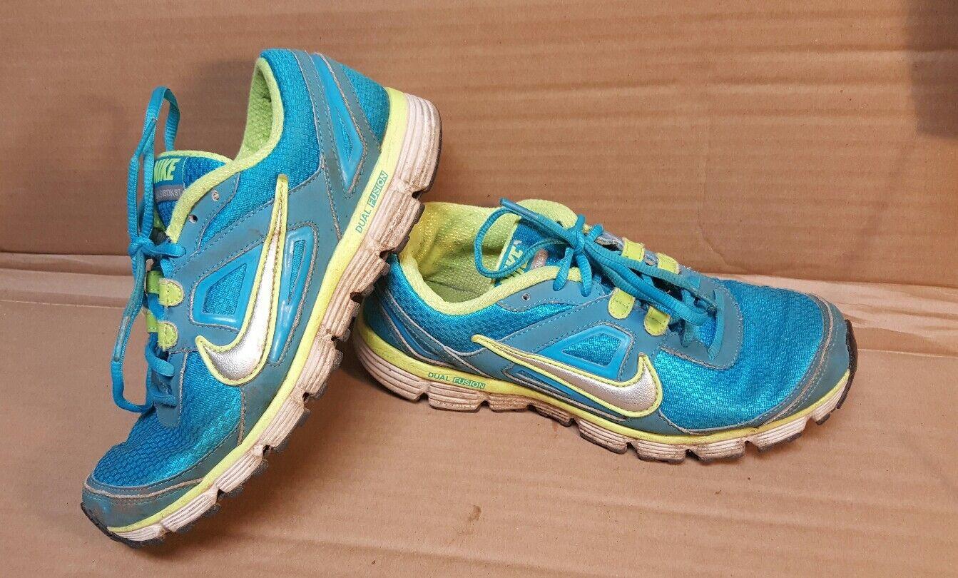 Nike Dual Fusion ST 407847-401 Neon Blue Yellow Running Shoes Women's Comfortable Cheap and beautiful fashion