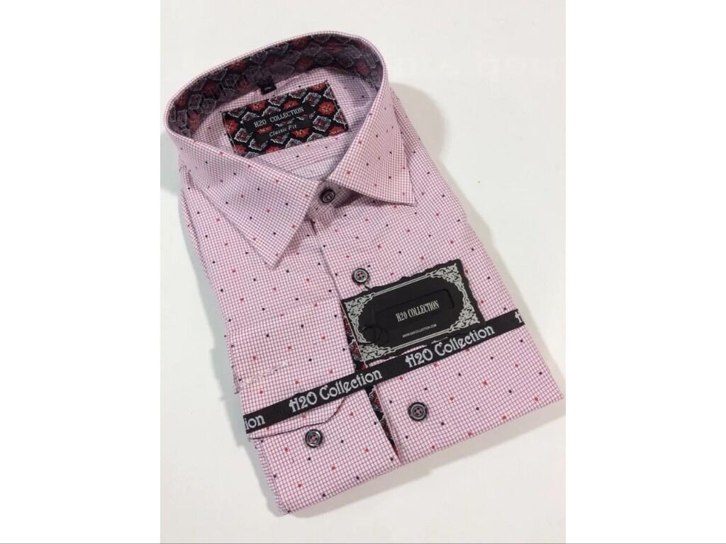 Men's Dress Shirt H2O Collection Cotton Fashion Design Classic Fit Red New