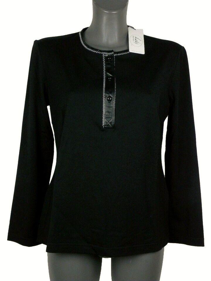 Suéter women women women Giorgio Grati T. 46 black Lana Ecopiel Stretch Original Nuevo 2d84b1