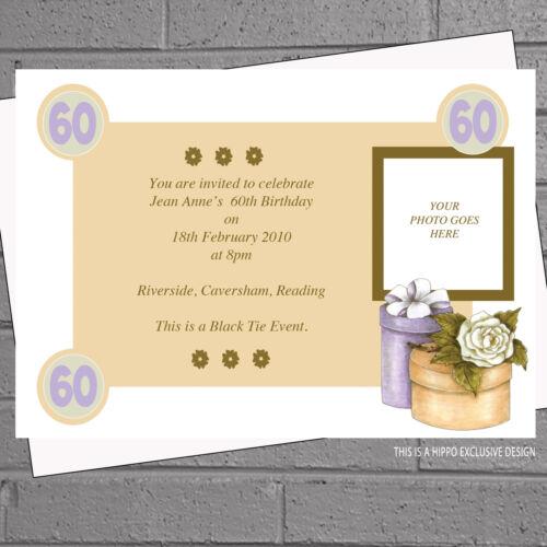 Ladies 60th 70th 80th 90th Hat Box Photo Birthday Party Invitations x 12 H0573