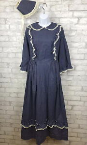 Blue With Polka Dot Modest Pioneer Prairie Style Dress Costume with Bonnet Sz 14