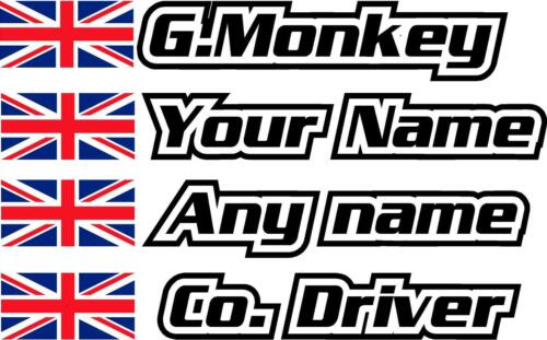 Premium Union Jack  Rally Decals Car Name Sticker Graphics 40mm Tall