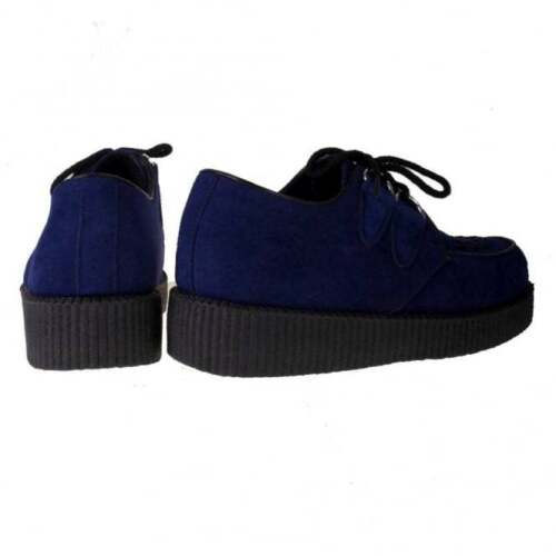 Navy Rock Fre1 Faux Vegan Ladies New Truffle Creepers Shoes Low Punk Suede Pw5WCqv
