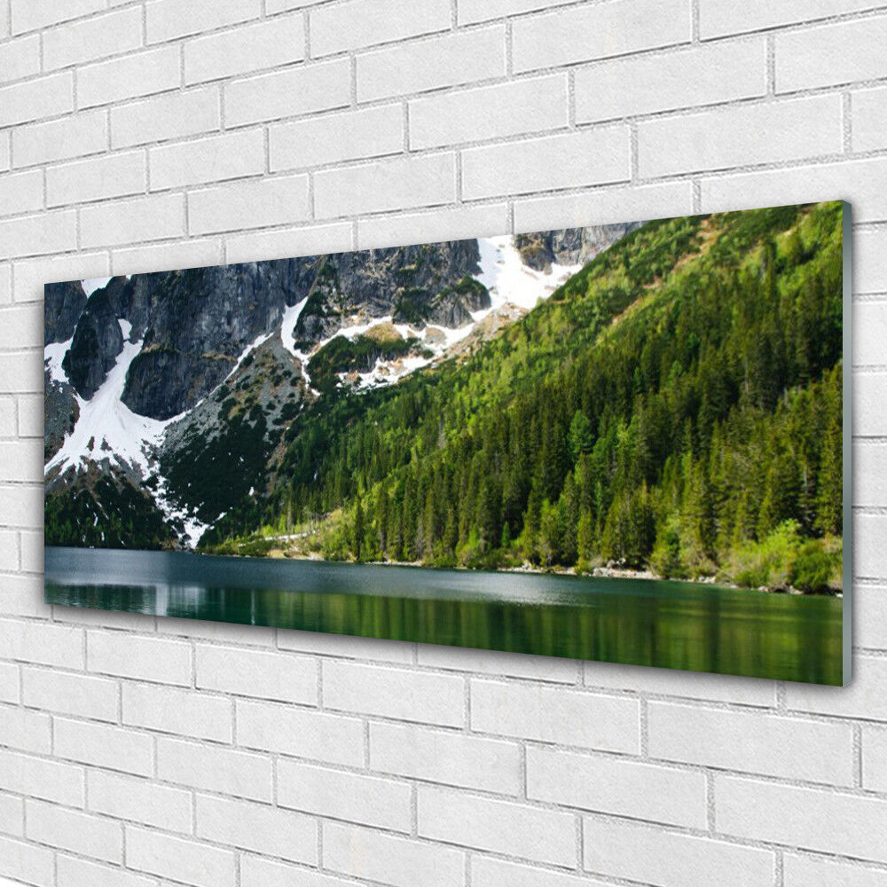 Impression sur verre Image tableaux 125x50 Paysage Lac Montagnes Forêt