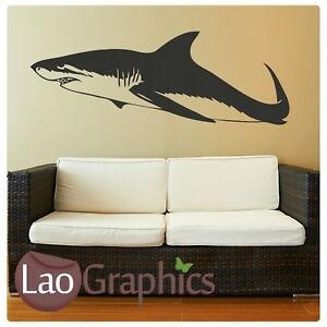 Great-White-Shark-Fish-Wall-Art-Sticker-Large-Vinyl-Transfer-Graphic-Decal-fi16