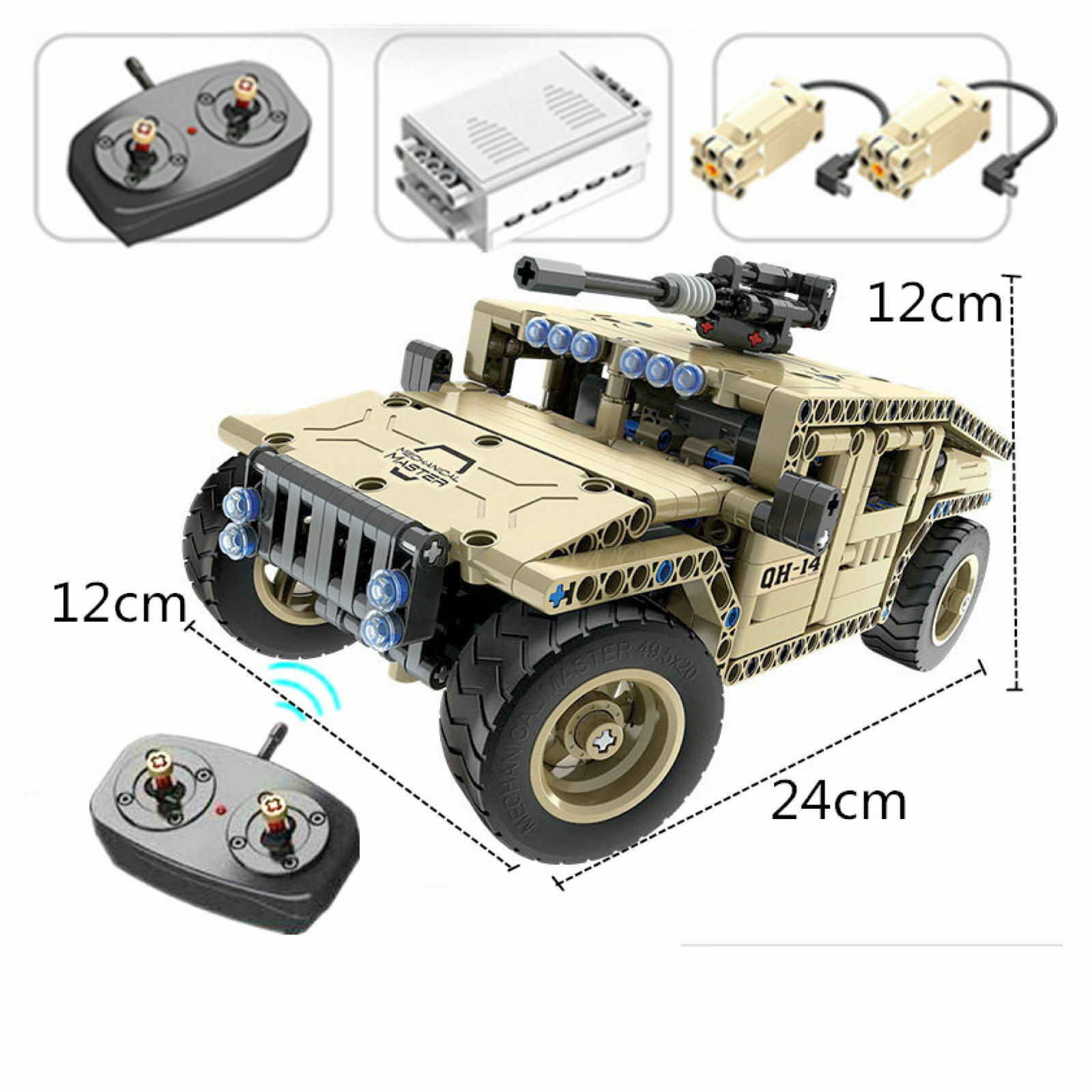 Technic Armed Hummer Military, 502pcs Building Blocks series set Remote RC