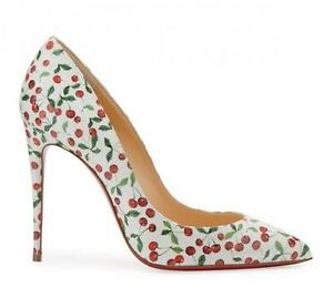 309472b069d9 Image is loading Christian-Louboutin-PIGALLE-FOLLIES-100-Cherry-Print-Heels-