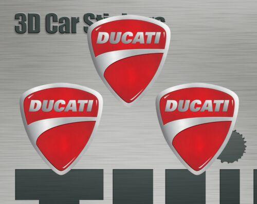Ducati Logo Emblem Decal 3x Stickers 25x27 3d effect for Tank or Helmet