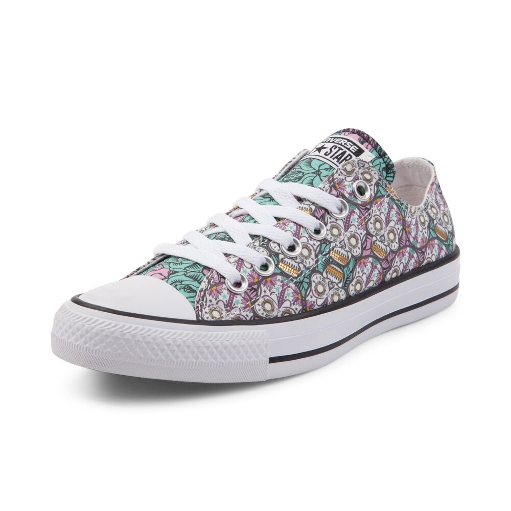 NEW PRINT Converse Chuck Taylor All Star Lo Sugar Skulls Sneaker White Multi