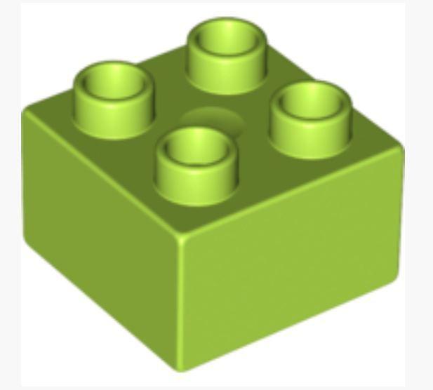 4183780 /_LEGO Duplo Brick 2x2 3437 Lot of 2 /_ Bright Yellowish Green