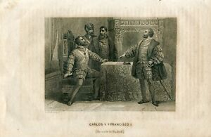 Charles-V-And-Francis-I-Treaty-Of-Madrid-Engraving-And-Drawn-By-Lechard