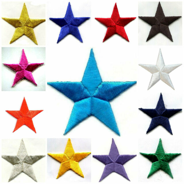 "-Iron On Embroidered Patch Astrology 3 Pc STARS Golden Yellow 1 1//4/"" Stars"