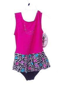 Moret Girls Gymnastics Leotard Small 6 7 Pink Purple Teal Jazz Dance Outfit NEW