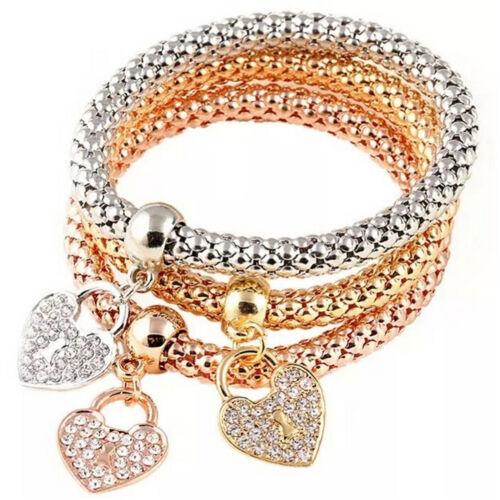 3X Frauen Mode ctue Charm Kristall Strass Herz elastisch Armbänder Armreif FBB
