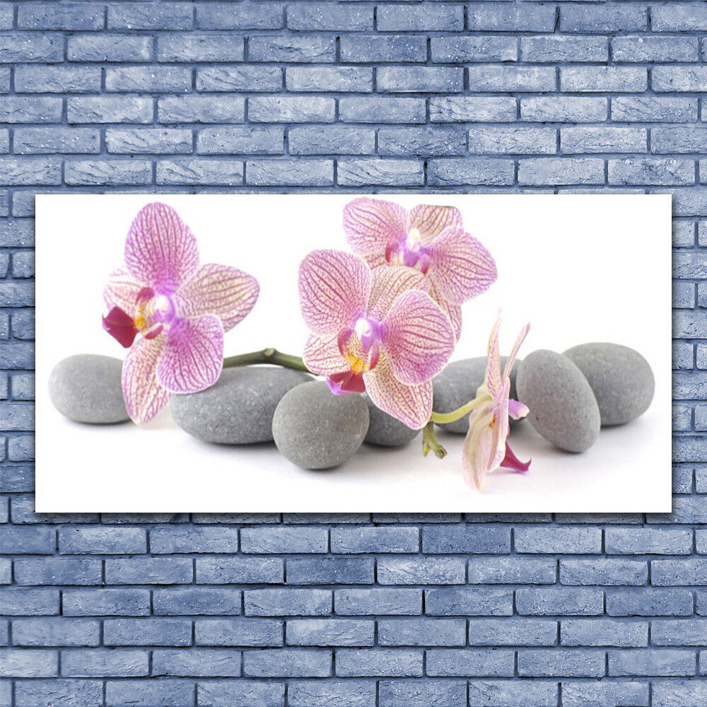 Print on Glass Wall Wall Wall art 140x70 Picture Image Tree Stones Floral be7896