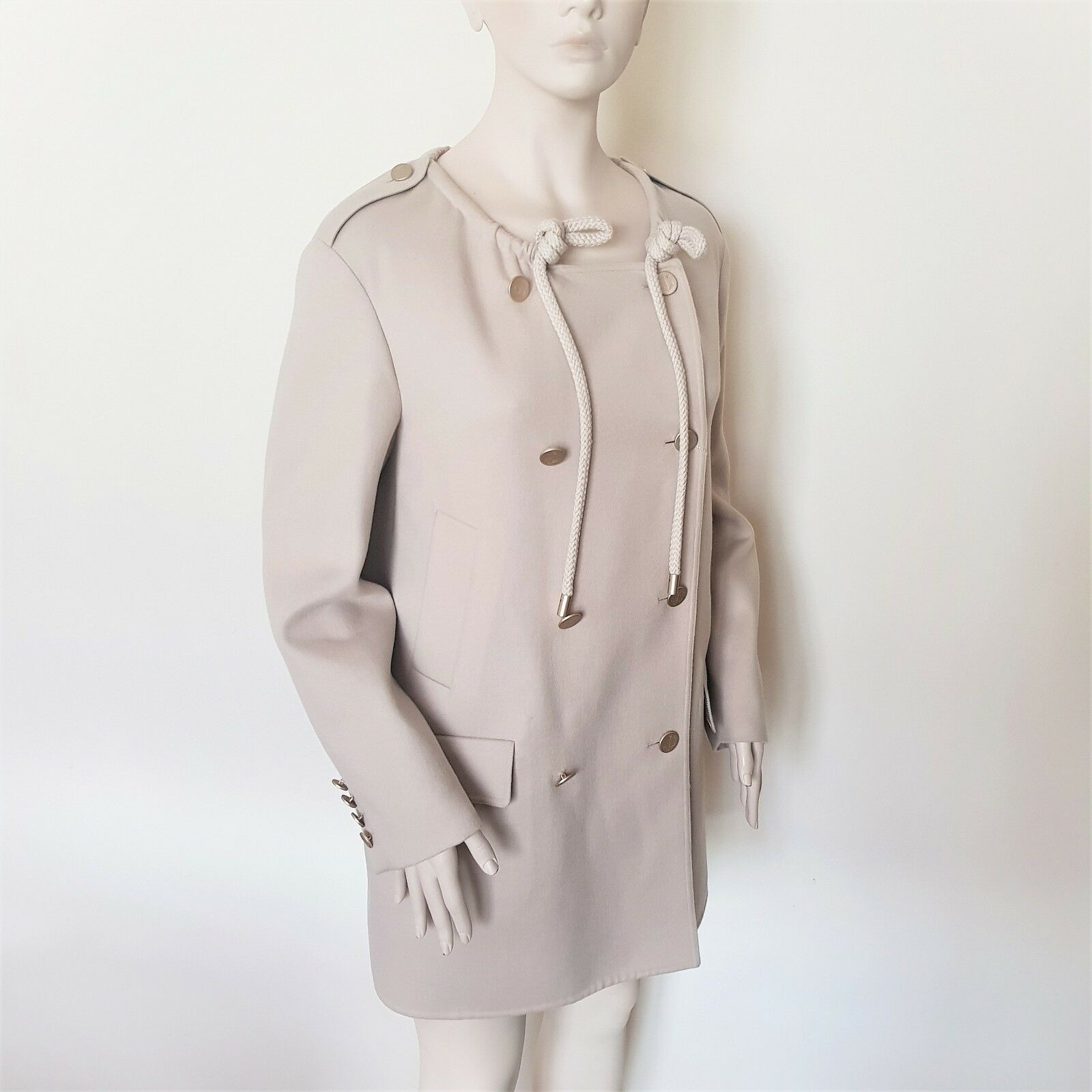MAX MARA, Beige RUNway kort Pea Coat, Storlek 4 US, 6 GB, 34 DE, 38 IT