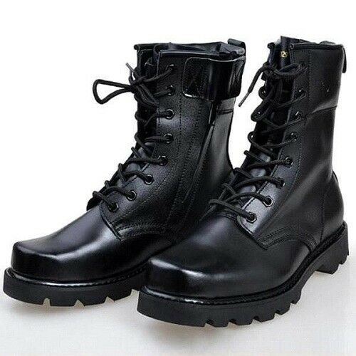 MEN NEW BLACK HANDMADE MILITARY BOOTS MEN COMBAT BOOT MEN LACE UP LONG SHOES