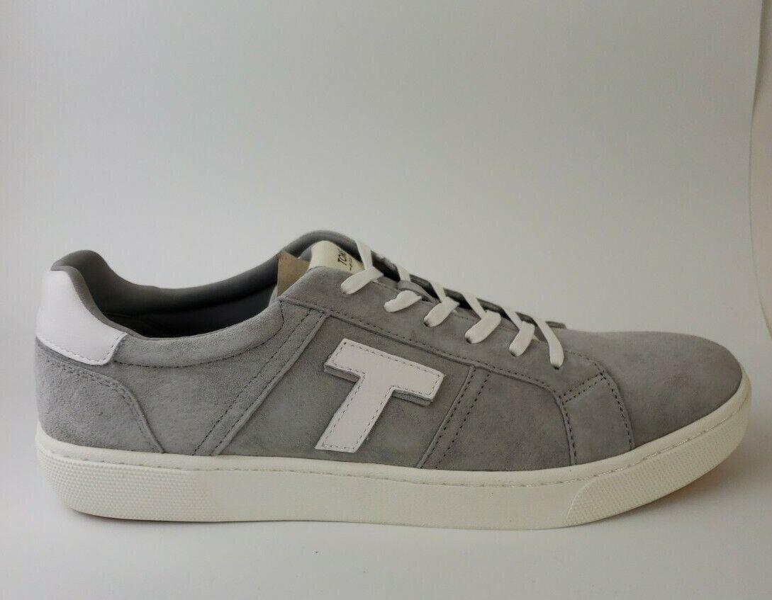 Toms Men's Leandro Drizzle Grey Pig Suede Logo Lace Up Shoes Size US 12