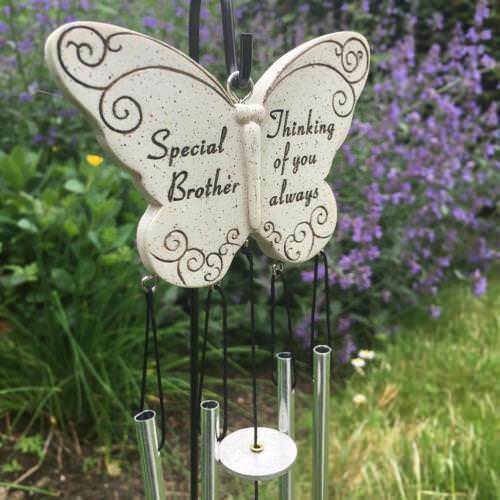 BROTHER BUTTERFLY WIND CHIME MEMORIAL GRAVESIDE TRIBUTE.