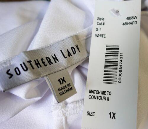 Southern Lady Women Plus Size 1x 2x 3x White Swing Top Blouse Cami Cut Out Trim