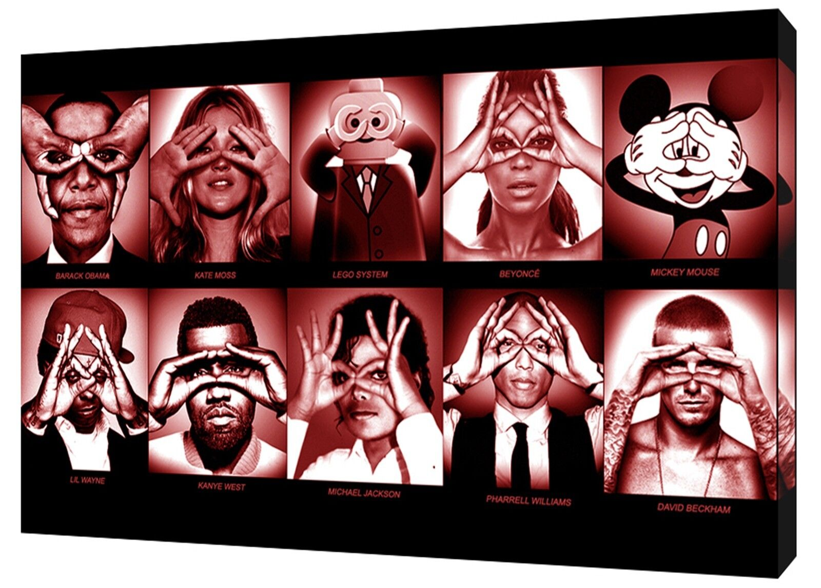 FAMOUS PEOPLE COLLAGE PRINT ON WOOD FRAMED CANVAS WALL ART HORIZONTAL