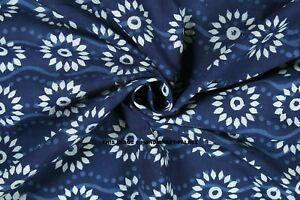 100-Cotton-By-Yard-Indian-Hand-Block-Print-Fabric-Material-Indigo-Blue-Fabric