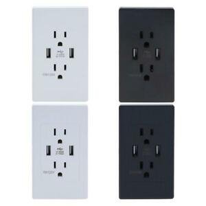 Dual-USB-Port-Wall-Socket-Charger-2-1A-Power-Outlet-Plate-Panel-Station-US