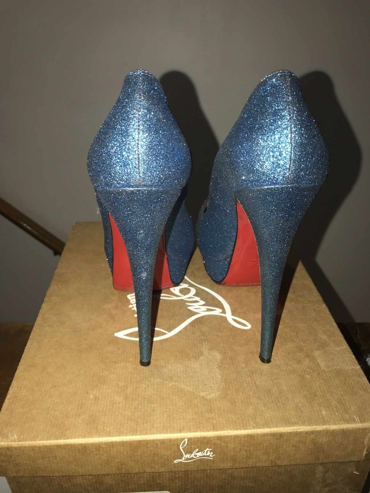 Christian Louboutin 39.5 Glitter Lady Lady Lady Peep Excellent Condition 537b59
