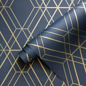 Metro Diamond Geometric Wallpaper Navy Blue Gold Wow003 World Of