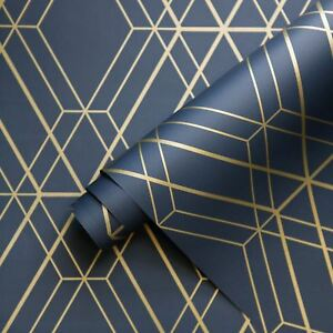 metro diamond geometric wallpaper navy blue gold wow003 world of metallic 3294270362013 ebay. Black Bedroom Furniture Sets. Home Design Ideas