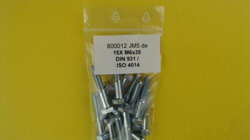 15X M6x35 Sechskantschrauben Teilgewinde 8.8 galv ISO 4014 verzinkt DIN 931