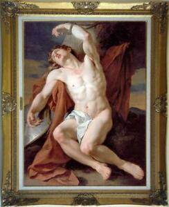 Old-Master-Art-Antique-Oil-Painting-Portrait-male-nude-on-canvas-24-034-x36-034