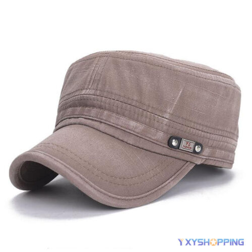Men Military Army Cadet Truckers Cap Adjustable Summer Plain Casual Sun Flat Hat