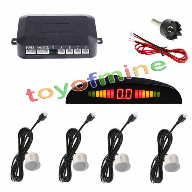 4 Parking Sensors LED Display Car Backup Reverse Radar System Kit 230cm White