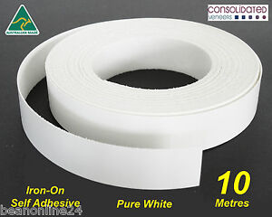 white melamine edge tape 21mm x 10m pre glued iron on. Black Bedroom Furniture Sets. Home Design Ideas
