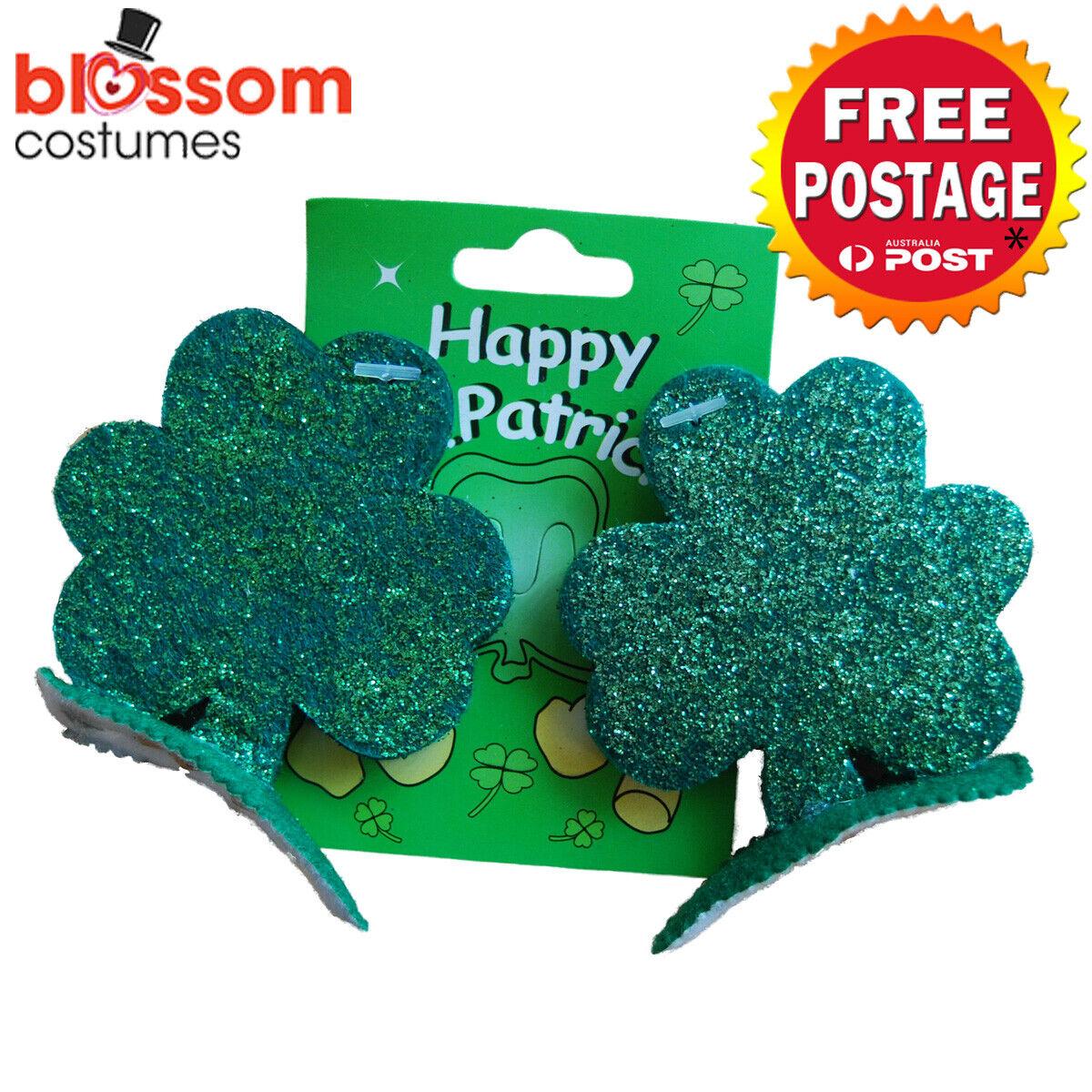 AS253 St Patricks Irish Day Green Shamrock Hair Clips Costume Accessory Glitter