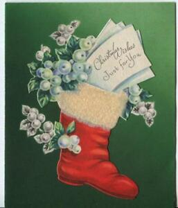 Vintage Christmas Red Stocking White Mistletoe Holly Berries Art