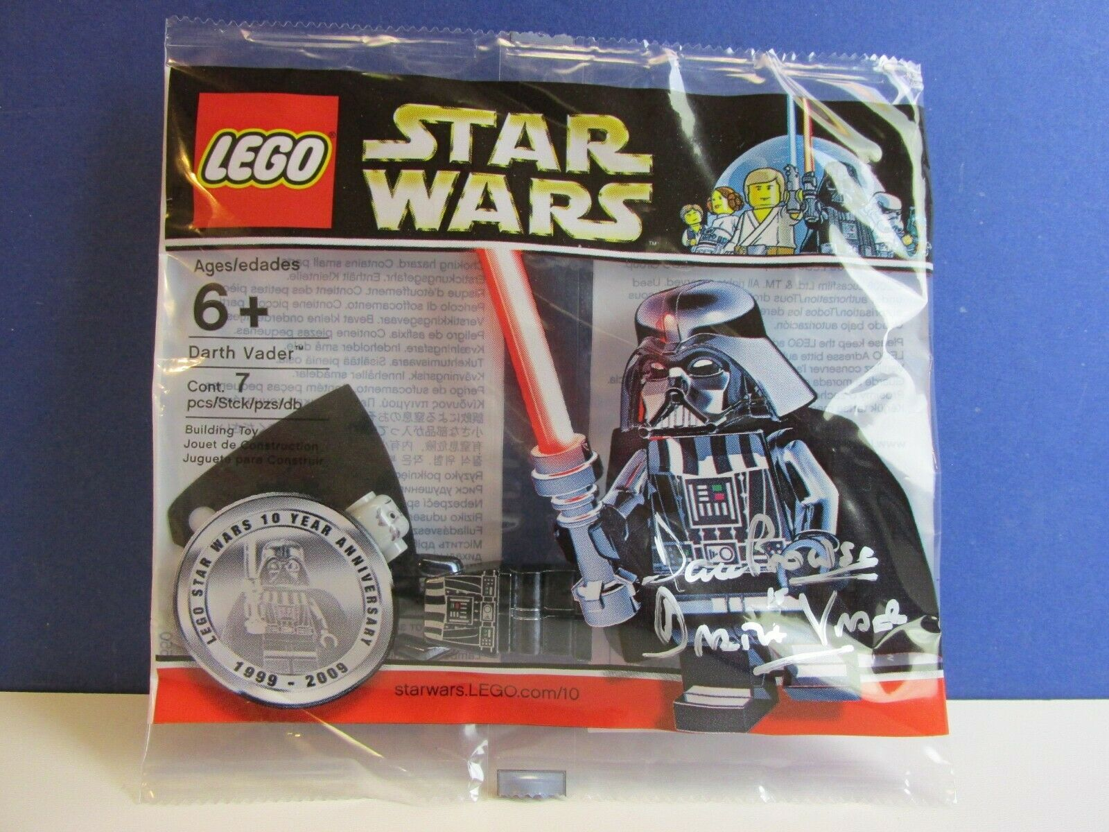Signée par David Prowse LEGO Star Wars Chrome Darth Vader figurine polybag RARE