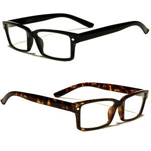 Rectangle Black Unisex Mens Womens Clear Lens Eyewear Nerd ...