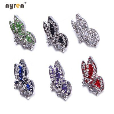 White Rhinestone Snowflake Snap Charms 18mm Snap Button Fit Snap Jewelry KZ0982