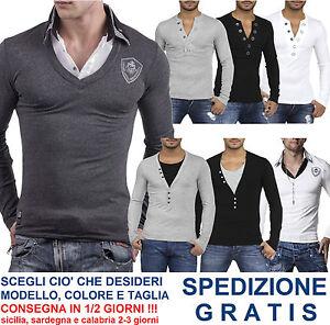 Maglia-da-Uomo-Slim-Fit-Maglietta-Aderente-T-Shirt-a-Maniche-Lunghe-Moda-Casual