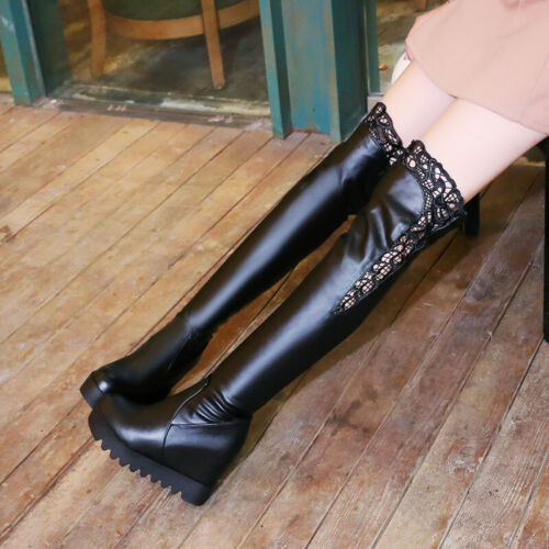 Women Round Toe Faux Leather Knee High Hidde Wedge Heel Pull On Boots Shoes Size