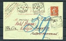Frankreich Ganzsache 10 Centimes plus Nachporto Vermerk Paris-Venedig - b3871