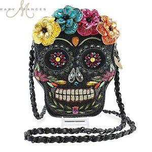Image is loading Mary-Frances-Dead-of-Night-Embellished-Sugar-Skull- 4b71daf40d08d