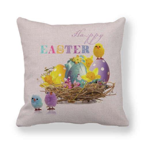 Easter Floral Pillow Case Spring Seasonal Home Decor Rabbit Throw Cushion Cover