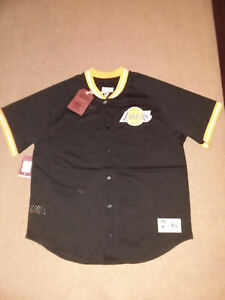 LOS ANGELES LAKERS LA button up JERSEY SHIRT NEW! Mitchell Ness  100 ... d10b5ffe9