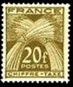 FRANCE-STAMP-TIMBRE-TAXE-YVERT-N-77-034-TYPE-GERBES-20F-BRUN-OLIVE-034-NEUF-xx-TTB