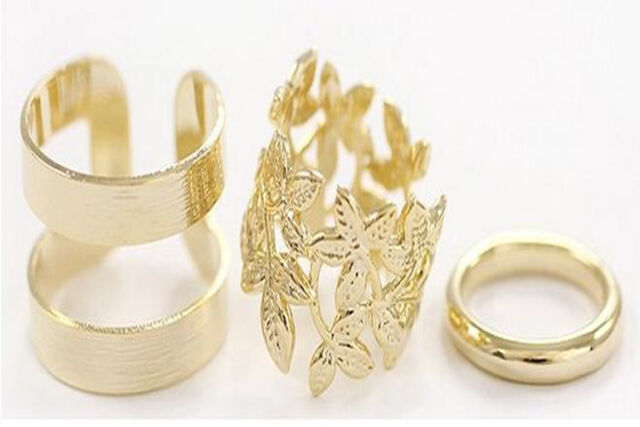Fashion Women's Metal Gold Silver Plated Leaf Xmas Knuckle Finger Ring Set